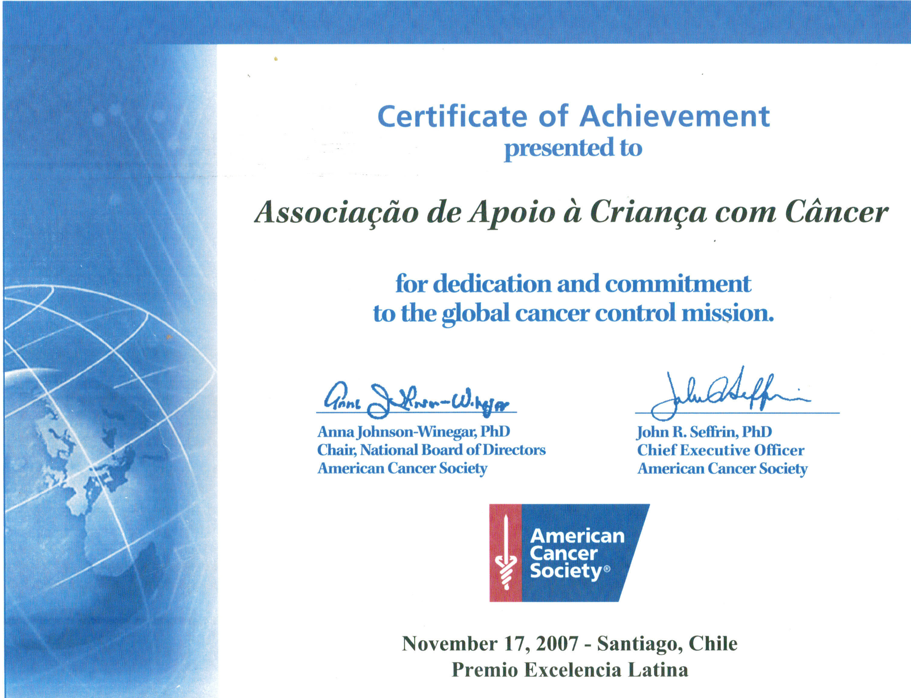 Certificate American Cancer Society